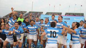 El loco festejo de los jugadores argentinos tras la histórica victoria ante los Springboks.